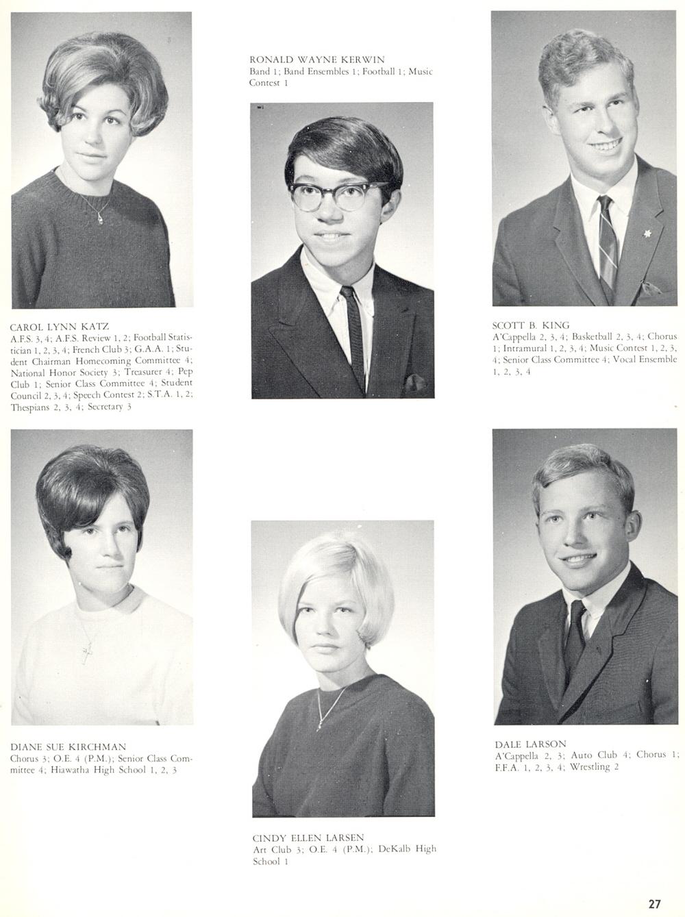 9bd384a0394b3 1968 Sycamore High School, Page 27: Carol Lynn Katz, Ronald Wayne Kerwin,  Scott B. King, Diane Sue Kirchman, Cindy Ellen Larsen, Dale Larson.